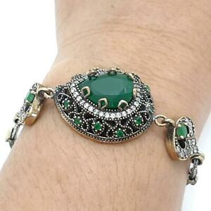 Deco 10.30ctw Emerald & Diamond Cut Sapphire 14K Yellow Gold 925 Silver Bracelet