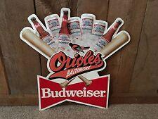 Vintage Budweiser Beer Baltimore MD Orioles Baseball Sign 1992 Bar Pub Man Cave