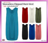 New Ladies Women Sleeveless Longline Dip Back Top Vest Plus Sizes 14-24