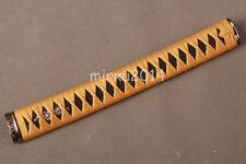 Japanese Samurai Katana Sword Orange Sybthetic Silk ITO Black Rayskin Handle