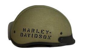 Harley-Davidson Mens Green Army Canvas Half Helmet Large 59-60cm 97271-12VM/000L