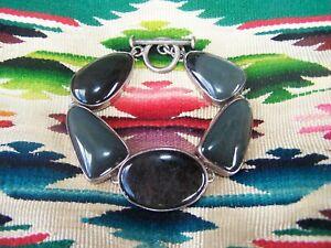 Chunky Southwestern Sterling Silver Black Agate Multi Stone Link Bracelet