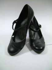 Ladies 7.5 M WHITE MOUNTAIN black leather MARY JANEs shoes VG wedge heels clean