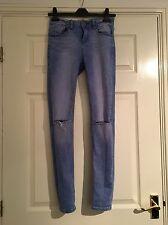 New Look Skinny Fit Blue Ripped Knee Rip Busted Knee Jeans Size 8