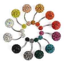Steel Ball Dangle Navel Belly Button Ring Bar Rhinestone Crystal Body Piercing