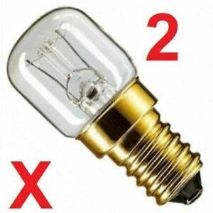 2 x Himalayan Salt Lamp Bulbs 15w E14 Screw in Pygmy Bulbs Fridge Appliance UK