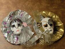 Pair Of 2 Fancy Porcelain Masks Lot (Butterfly & Flower)