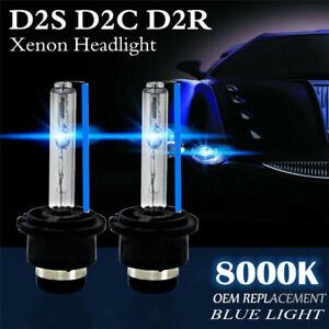 2x D2S 35W 8000K HID Xenon Replacement Low/High Beam Headlight Lamp Bulbs Blue