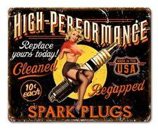 High Performance Spark Plug Tin Metal Sign Pin Up Girl Mechanic Garage Hot Rod