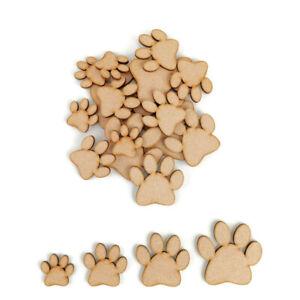 Dog Cat Paw Print MDF Craft Shapes Wood Blank Decoration Embellishments Pack Pet
