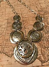 Silpada N2861 Sterling Silver Brass Etched Bohemian Boho Bib Necklace New