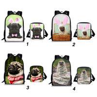 2pcs Pug Dog School Bag Boys Girls Backpack Shoulder Laptop Messenger Rucksack