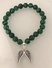 UK. Silver Guardian Angel Wing Malachite Crystal Gemstone Bead Bracelet