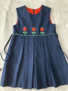 FLORENCE EISEMAN vintage navy jumper dress with red flowers 6