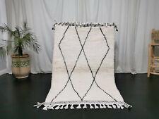 Moroccan Beni Ourain Handmade Carpet 3'7x5'8 Geometric Berber White Wool Rug