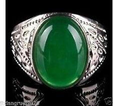 beautiful tibet silver green jade men's ring size 10#