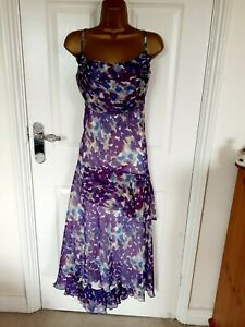 """NWT KLASS Size UK-22 lined Floaty Chiffon Fit & Flare Floral Dress   BUST 48"""""""