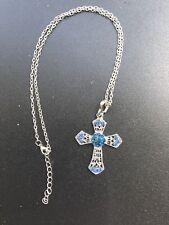 Fashion Cross Silver Blue Crystal Rhinestone Pendant Silver Chain Necklace