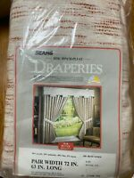"Sears Draperies Nubby Textured Thermal Foam Backed 72"" X 63"" Rust/Linen NOS NIP"
