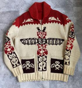 Vintage 60's Hand Knit Cowichan Wool Sweater Totem Pattern Fits Men's L/XL