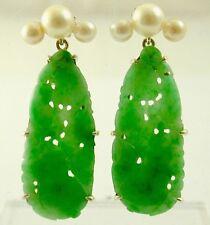 1950's natural Jade earrings, screw stud Long Imperial & Apple Jade colours 12ct