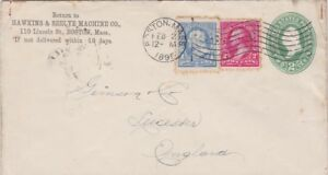 USA 1895 POSTAL COVER 2 CENTS PRE PAID HAWKINS SEELYE MACHINE CO TO LEICESTER UK