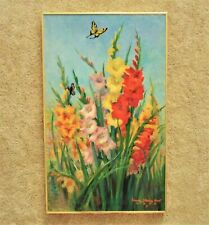 "LARGE 36"" Vintage Still Life Painting Gladiolus & Butterflies Mid Century Modern"