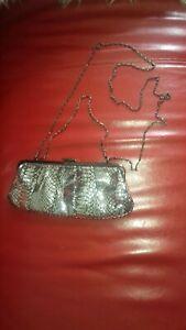 Really Cute Silver Black Clutch Bag 27 X 13 Cm 2 Straps
