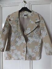 VINTAGE Khaki/Beige Floreale Giacca Blazer Camicia Blusa Top 10 UK nuovo senza etichetta