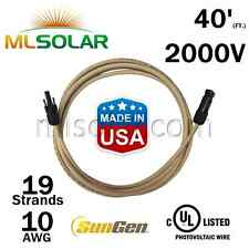 40FT SunGen Solar Panel Extension Cable 10AWG PV Wire M/F MC4 Connector UL 2000V