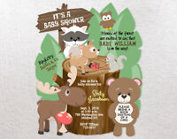 Birthday or Baby Shower Invitations Woodland Personalized Custom Girl Boy Qty 20