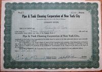 'Pipe & Tank Cleaning Corporation of New York City' 1929 Stock Certificate - NY