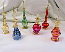 "6 Egyptian Glass Colored Perfume Bottle Set Handmade 3.75"" - 5""  #P103"
