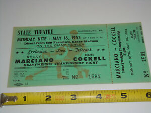 1955 ROCKY MARCIANO vs DON COCKELL UNUSED BOXING TICKET Heavyweight Championship