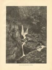 1880 ANTIQUE PRINT-WINDERMERE, STOCK GILL FORCE, AMBLESIDE