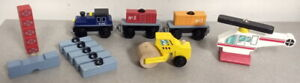 THOMAS TANK ENGINE BRIO COMPATIBLE 12pc LOT KID KRAFT WOODEN TRAIN HELICOPTER +