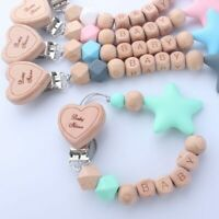 Personalized Name Star Silicone Beads Wood Heart Dummy Clips Baby Pacifier Chain