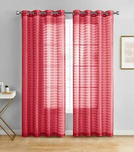 Single Sheer Window Curtain Panel: 55Wx84L, Plaid/Check Design, Metal Grommet