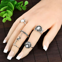 Fashion 5pcs/Set Women Stack Plain Above Knuckle Ring Midi Finger Tip Ring Gift