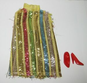 Vintage Barbie Clone Maddie Mod - Colorful Metallic Striped Mini Dress, Shoes