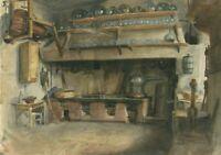 Dessin Ancien encre vintage du XIXe siècle - Cuisine, Intérieur