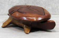 Carved Mahogany TURTLE TRINKET BOX with Lid Folk Art from Haiti Signed