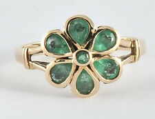R290 Genuine 9K SOLID Yellow Gold Natural Emerald DAISY Blossom Ring size N