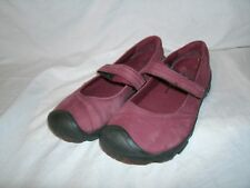 Keen Burgundy Mary Jane Flats Slides Buckle Straps Shoes sz 4