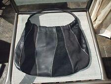 Franco Sarto black suede & leather shoulder bag tote casual sturdy bag purse