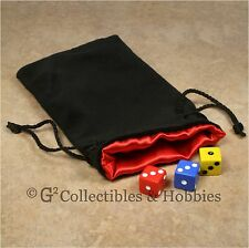 NEW Large Black Velvet RPG Game Dice Bag with RED Satin Lining Counter Pouch