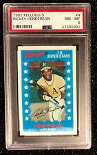 1982 Kellogg's Rickey Henderson #4 Baseball Card Oakland Athletics PSA 8 NM-MT