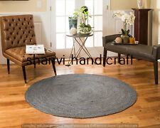 Natural Jute Rug Floor Handmade Bohemian Round 7 Feet Area Carpet Reversible Rug