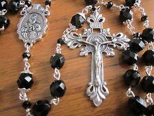 Gorgeous Black Beaded  Handmade Catholic Rosary  #5-6-4 b