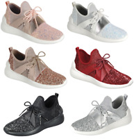 Women Sequin Glitter Athletic Joggers Lace-Up Fashion Shoes Comfort Gym Sneakers